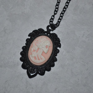 Jewelry - Skeleton Lady Cameo Necklace